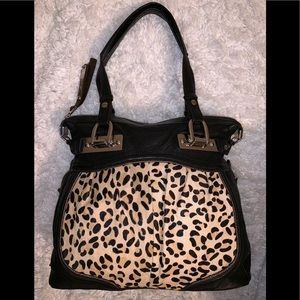 New! B Makowsky large bag leather pony hair